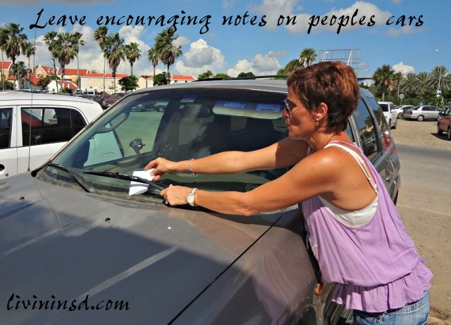 53-Leave encouraging notes on peoples cars -thespacebetweenblog.net
