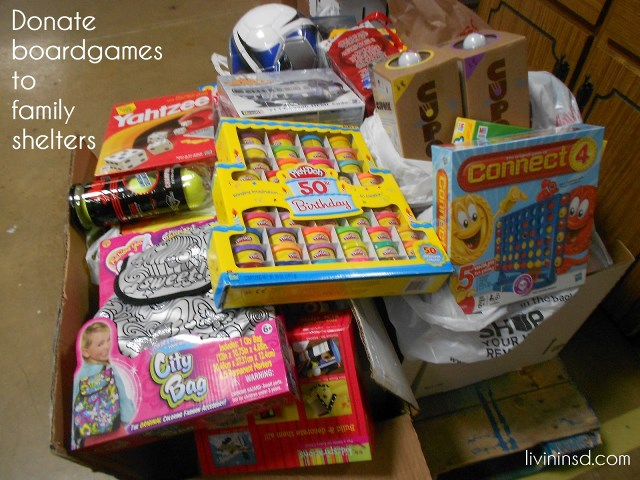 80-Donate boardgames to family shelters