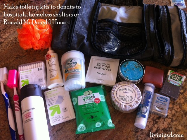 116-Make then donate toiletry kits to hospitals, homeless shelters and or Ronald McDonald house